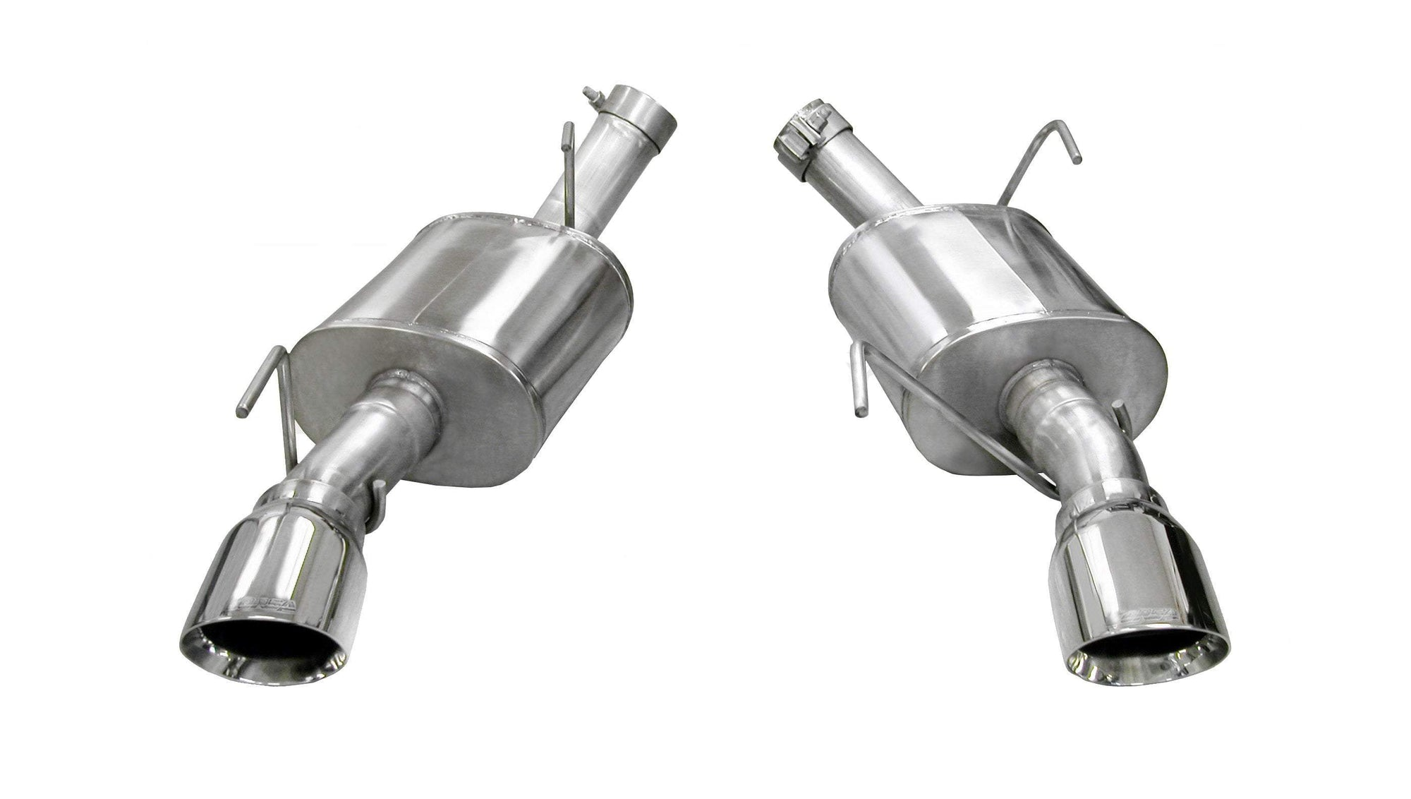 "CORSA PERFORMANCE Axle-Back Exhaust Polished / XTREME / Dual Rear - Single 4.0in 2005-2010 Ford Mustang GT, GT500, 2.5"" Dual Rear Exit Axle-Back Exhaust System with 4.0"" Tips (14314) Xtreme Sound Level"