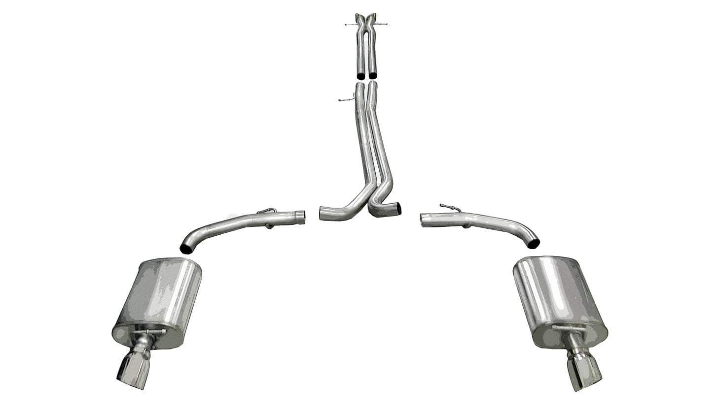 "CORSA PERFORMANCE Cat-Back Exhaust Polished / Sport / Dual Rear - Single 4.0in 2010-2018 Ford Taurus Sho 2.5"" Dual Rear Exit Catback Exhaust System with Single 4.0"" Tips (14315) Sport Sound Level"