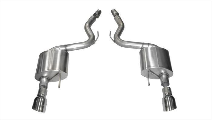 "CORSA PERFORMANCE Axle-Back Exhaust Polished / Sport / Dual Rear - Single 4.5in 2015-2017 Ford Mustang GT, 5.0L V8, 3.0"" Axle-Back with Single 4.5"" Tips (14326) Sport Sound Level"