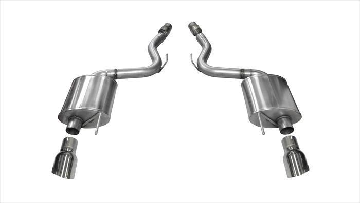 "CORSA PERFORMANCE Axle-Back Exhaust Polished / Touring / Dual Rear - Single 4.5in 2015-2017 Ford Mustang GT, 5.0L V8, 3.0"" Axle-Back Exhaust System with 4.5"" Tips (14329) Touring Sound Level"