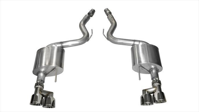 "CORSA PERFORMANCE Axle-Back Exhaust Polished / Sport / Dual Rear - Twin 4.0in 2015-2017 Ford Mustang GT, 5.0L V8, 3.0"" Axle-Back Exhaust System with Twin 4.0"" Tips (14334) Sport Sound Level"