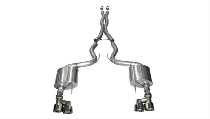 "CORSA PERFORMANCE Cat-Back Exhaust Polished / Xtreme / Dual Rear - Twin 4.0in 2015-2017 Ford Mustang GT, 5.0L V8, 3.0"" Cat-Back Exhaust System with Twin 4.0"" Tips (14335) Xtreme Sound Level"
