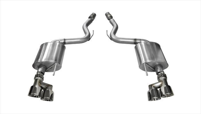 "CORSA PERFORMANCE Axle-Back Exhaust Polished / Touring / Dual Rear - Twin 4.0in 2015-2017 Ford Mustang GT, 5.0L V8, 3.0"" Dual Rear Exit Axle-Back Exhaust System with Twin 4.0"" Tips (14336) Touring Sound Level"