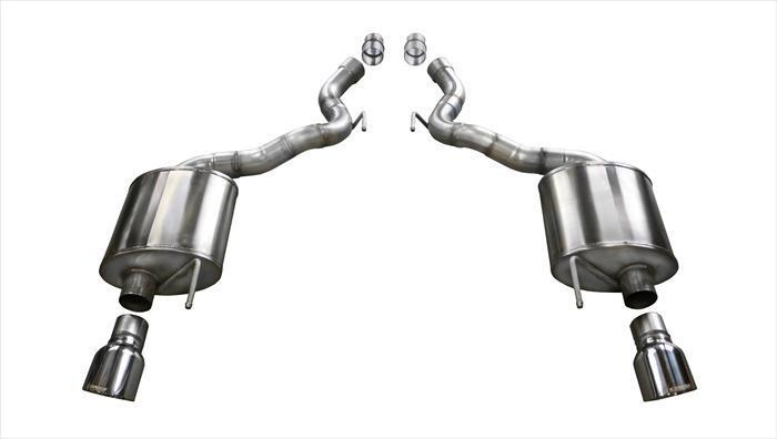"CORSA PERFORMANCE Axle-Back Exhaust Polished / Sport / Dual Rear - Single 4.5in 2015-2017 Ford Mustang GT, Convertible, 5.0L V8, 2.75"" Axle-Back Exhaust System with 4.5"" Tips (14339) Sport Sound Level"
