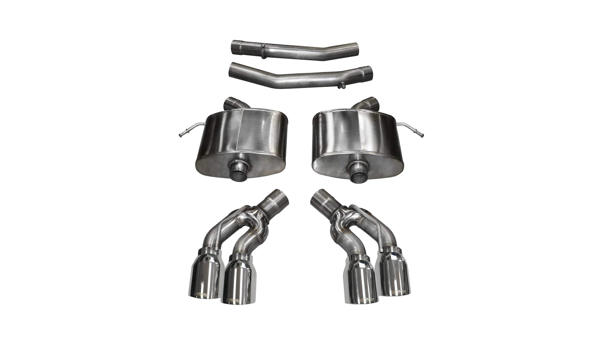 "CORSA PERFORMANCE Axle-Back Exhaust Polished / Sport / Dual Rear - Twin 4.0in 2016-2019 Cadillac CTS-V 6.2L V8, 2.75"" Dual Rear Exit Axle-Back Exhaust System with Twin 4.0"" Tips (14357) Sport Sound Level"