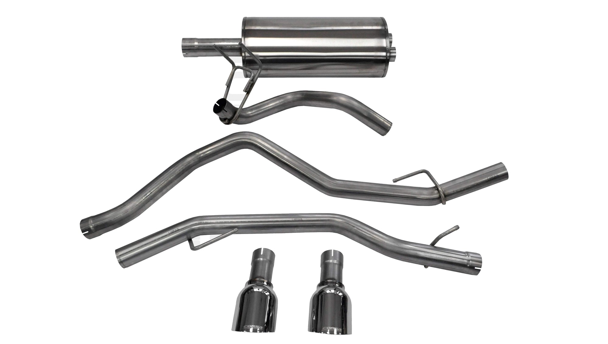 "CORSA PERFORMANCE Cat-Back Exhaust Polished / Sport / Dual Rear Exit Single -4.5in 2009-2019c Dodge Ram 1500 V8, 3.0"" Dual Rear Exit Catback Exhaust System with Single 4.5"" Tips (14405) Sport Sound Level"