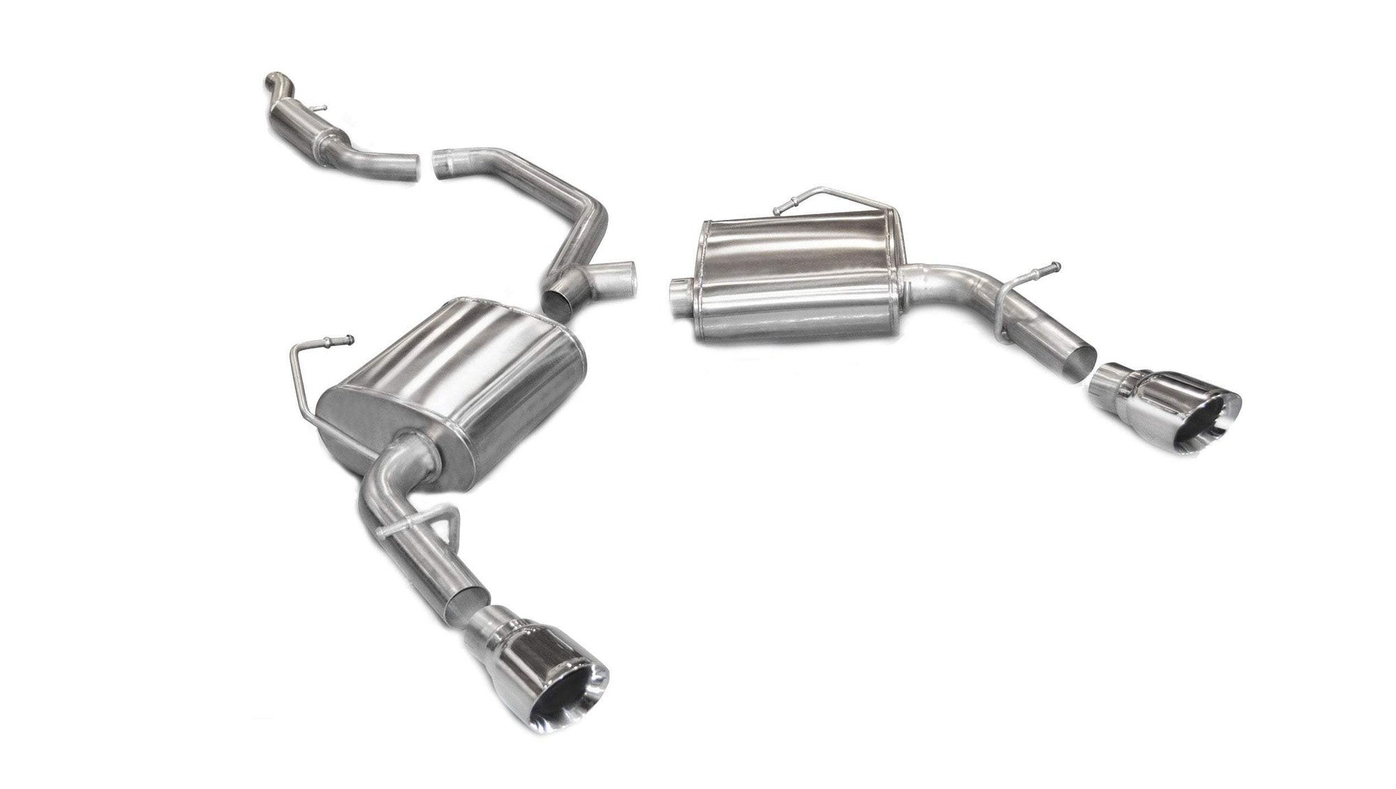 "CORSA PERFORMANCE Cat-Back Exhaust Polished / Sport / Dual Rear - Single 4in 2.5"" Dual Rear Exit Cat-Back Exhaust System with Single 4.0"" Tips (14413) Sport Sound Level"