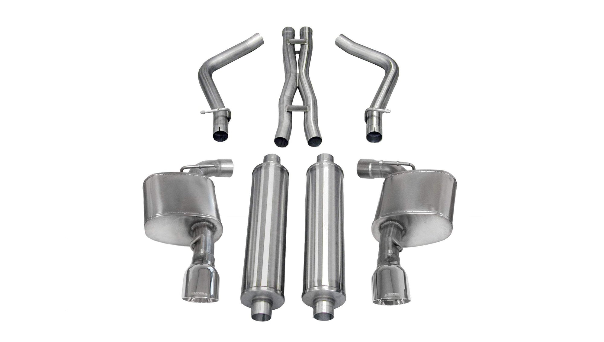 "CORSA PERFORMANCE Cat-Back Exhaust Polished / Sport / Dual Rear - Single 4.5in 2.75"" Dual Rear Exit Cat-Back Exhaust System with 4.5"" Tips (14463) Sport Sound Level"