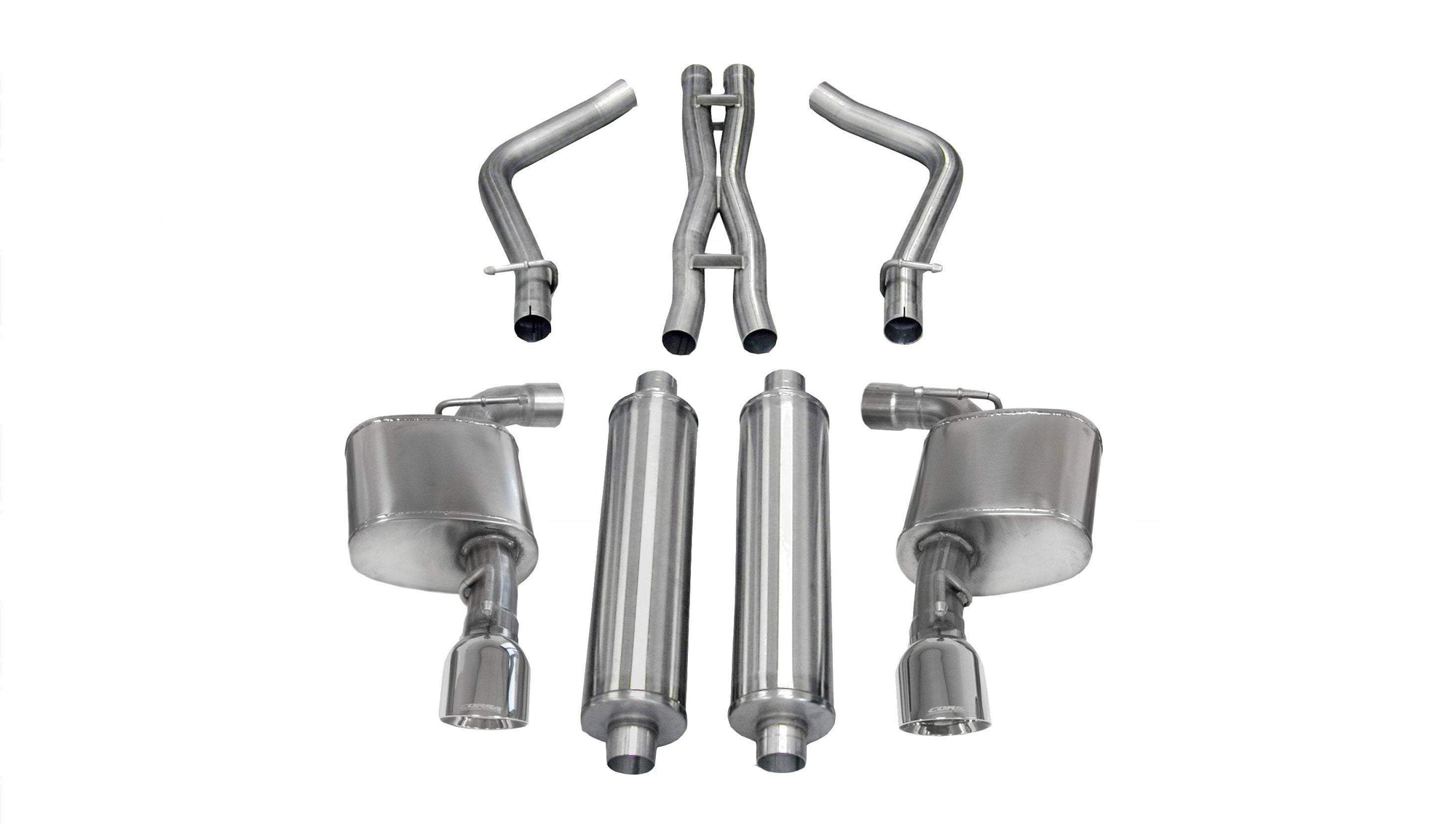 "CORSA PERFORMANCE Cat-Back Exhaust Polished / Xtreme / Dual Rear - Single 4.5in 2012-2014 Dodge Charger, Chyrsler 300 2.75"" Dual Rear Exit Catback Exhaust System with 4.5"" Tips (14464) Xtreme Sound Level"