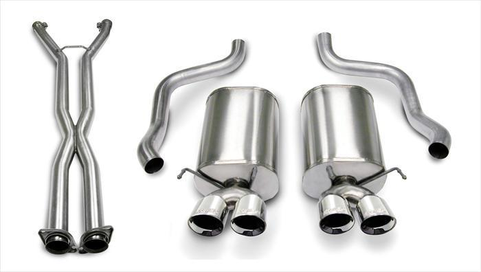 "CORSA PERFORMANCE Cat-Back Exhaust Polished / Xtreme / Dual Rear - Twin 3.5in 2006-2008 C6 Chevrolet Corvette 6.0L, 6.2L V8 , 2.5"" Dual Rear Exit Catback Exhaust System with Twin 3.5"" Tips (14469CB6) Xtreme Sound Level"