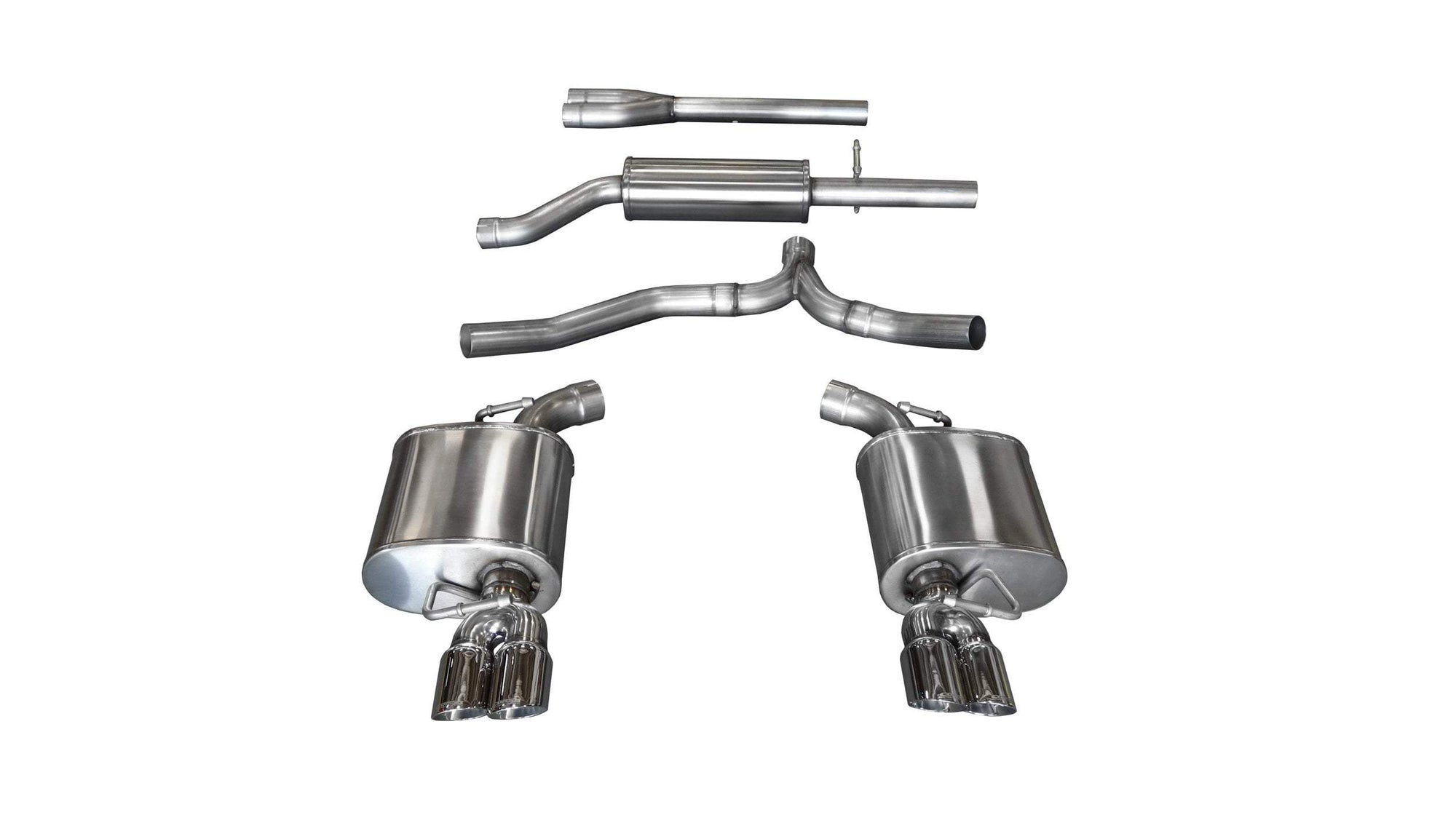 "CORSA PERFORMANCE Cat-Back Exhaust Polished / Sport / Dual Rear - Twin 3 2011-2014 Dodge Charger 3.6L V6, 2.5"" Dual Rear Exit Catback Exhaust System with Twin 3.0"" Tips (14474) Sport Sound Level"
