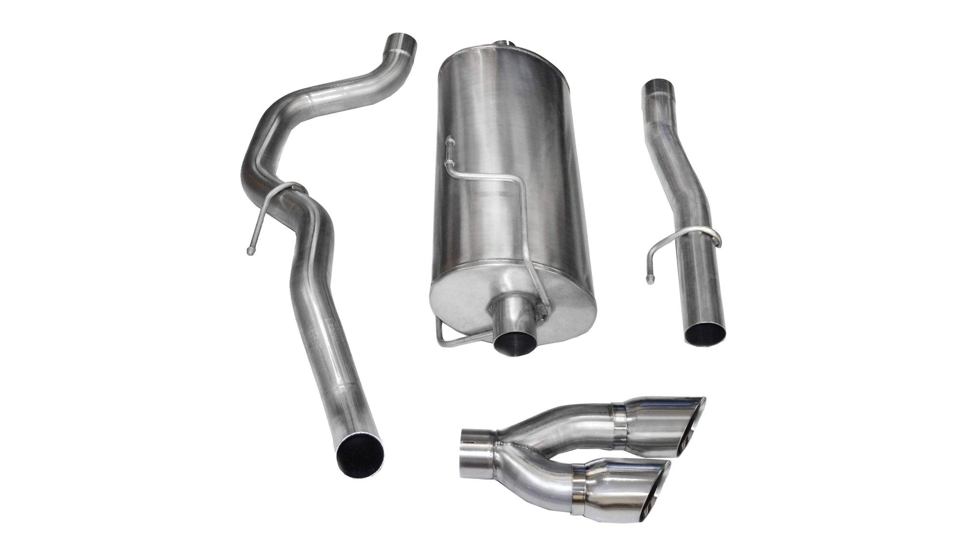 "CORSA PERFORMANCE Cat-Back Exhaust Polished / Sport / Single Side - Twin 4.0in 2010-2013 Dodge RAM 2500 5.7L V8, Regular Cab Long Bed, 3.0"" Single Side Exit Cat-Back Exhaust System with Twin 4.0"" Tip (14480) Sport Sound Level"