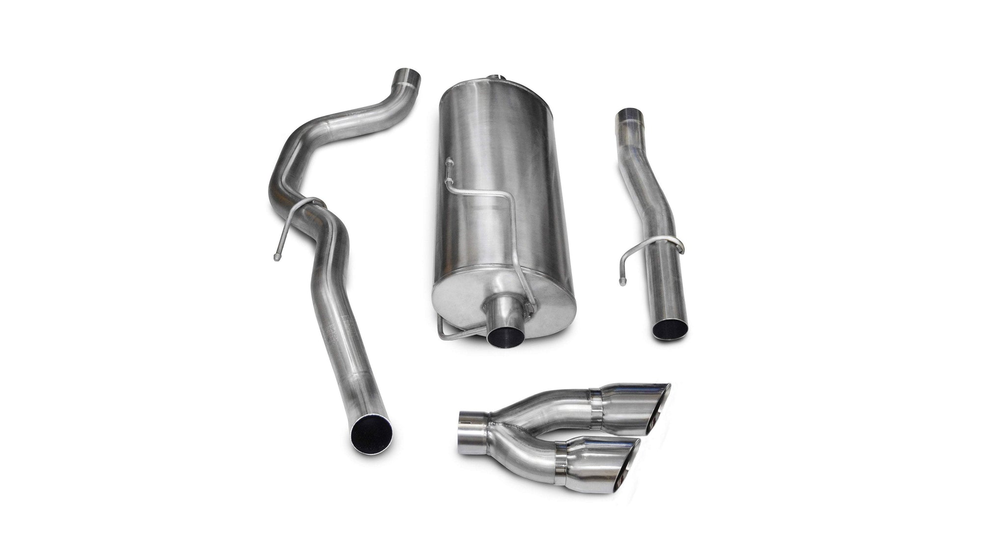 "CORSA PERFORMANCE Cat-Back Exhaust Polished / Sport / Single Side - Twin 4.0in 3.0"" Single Side Exit Cat-Back Exhaust System with Twin 4.0"" Tip (14483) Sport Sound Level"