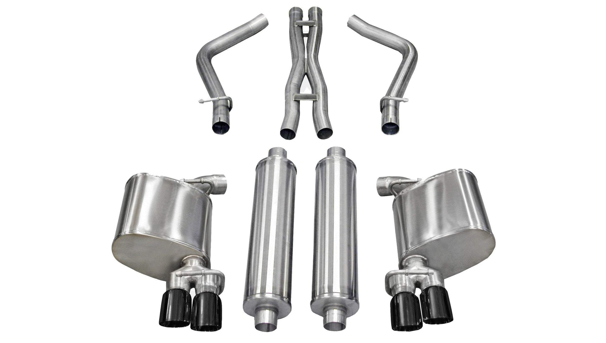 "CORSA PERFORMANCE Cat-Back Exhaust Polished / Sport / Dual Rear - Twin 3.0in 2.5"" Dual Rear Exit Cat-Back Exhaust System with Twin 3.0"" Tips (14525) Sport Sound Level"
