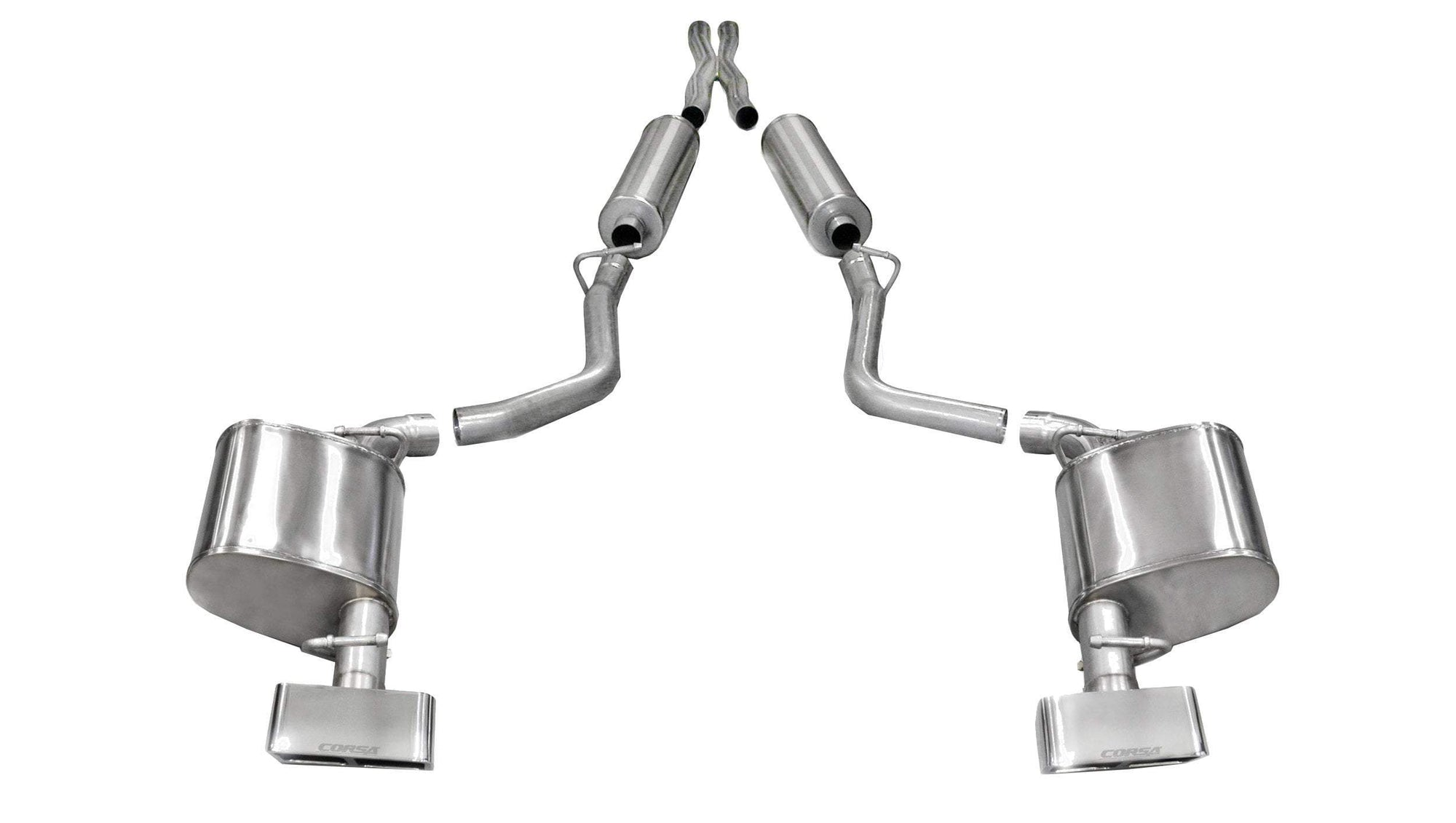 "CORSA PERFORMANCE Cat-Back Exhaust Polished / Sport / Dual Rear - GTX2 2011-2014 Dodge Challenger R/T, 5.7L V8, 2.5"" Dual Rear Exit Cat-Back Exhaust System with GTX2 Tips (14527) Sport Sound Level"