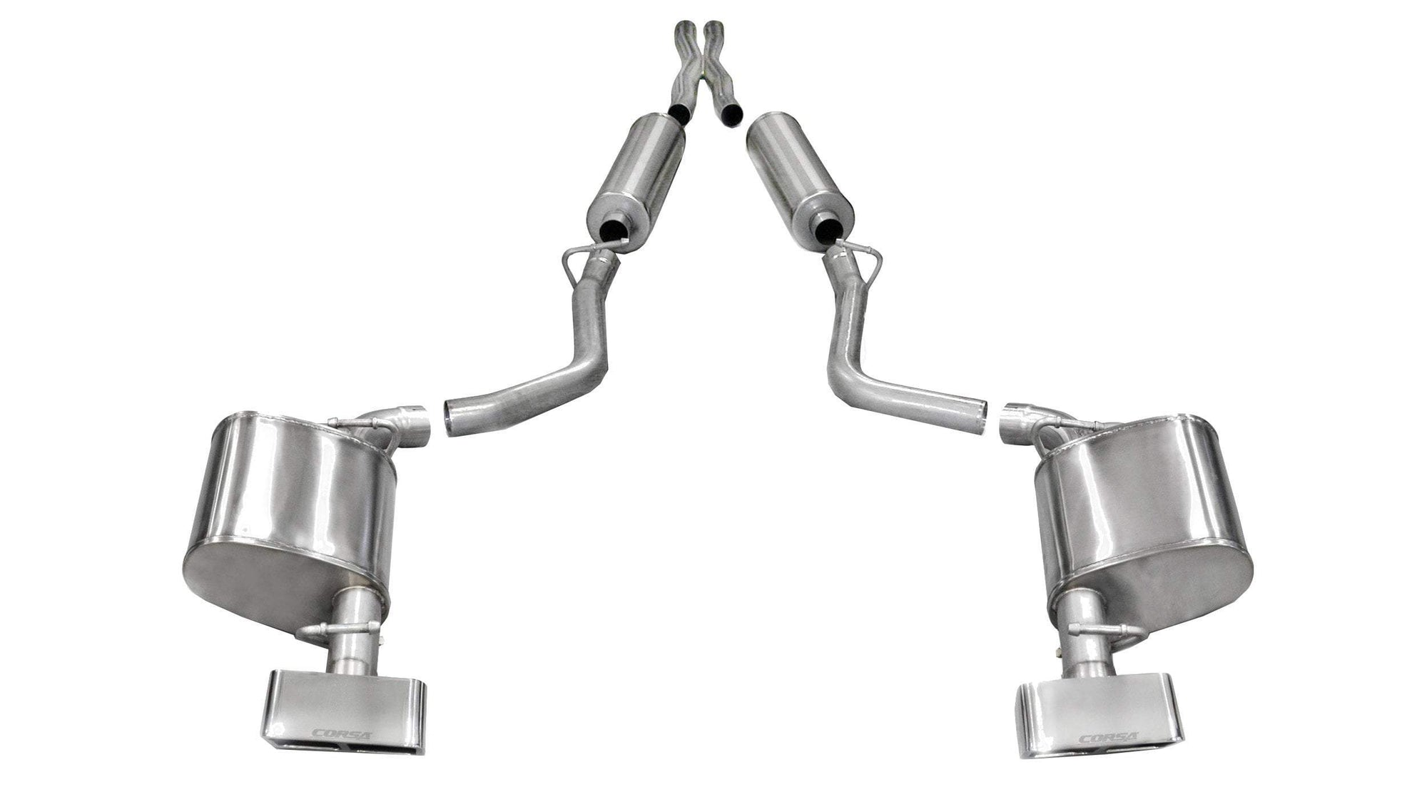 "CORSA PERFORMANCE Cat-Back Exhaust Polished / Extreme / Dual Rear - GTX2 2011-2014 Dodge Challenger R/T, 5.7L V8, 2.5"" Dual Rear Exit Cat-Back Exhaust System with GTX2 Tips (14529) Xtreme Sound Level"