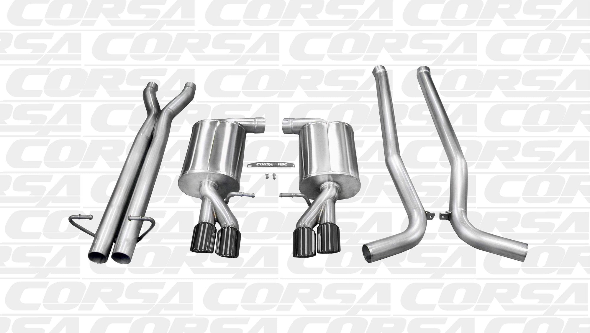 "CORSA PERFORMANCE Cat-Back Exhaust Polished / Sport / Dual Rear - Twin 3.0in 2005-2009 Audi S4 B7 4.2L V8, 2.5"" Dual Rear Exit Cat-Back Exhaust System with Twin 3.0"" Tips (14540) Sport Sound Level"
