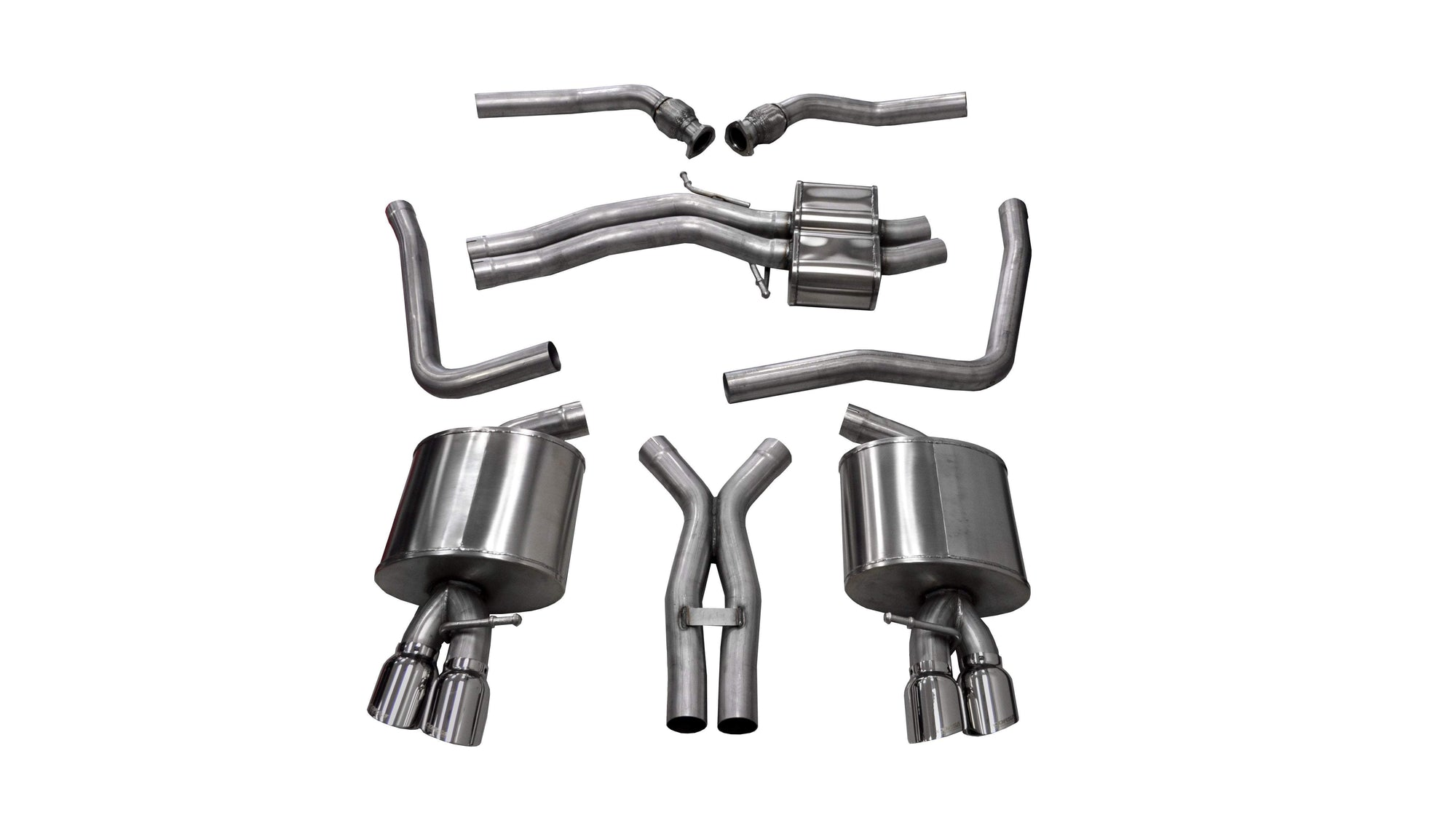 "CORSA PERFORMANCE Cat-Back Exhaust Polished / Sport / Dual Rear - Twin 3.5in 2008-2014 Audi S5 B8, 4.2L V8, 2.5"" Dual Rear Exit Cat-Back with Twin 3.5"" Tips (14544) Sport Sound Level"