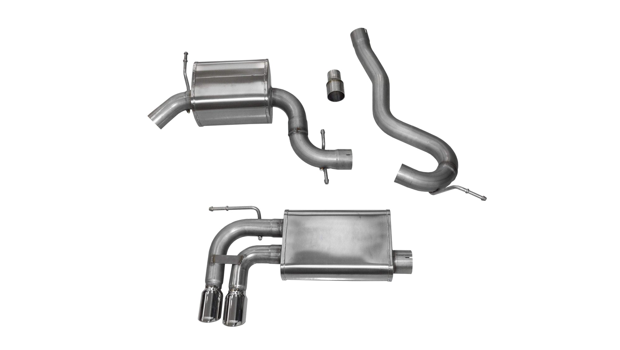 "CORSA PERFORMANCE Cat-Back Exhaust Polished / Touring / Single Rear - Twin 3.0in 2006-2014 Audi A3 BP, 2.0T, 3.0"" Single Rear Exit Cat-Back Exhaust System with Twin 3.0"" Tips (14545) Touring Sound Level"