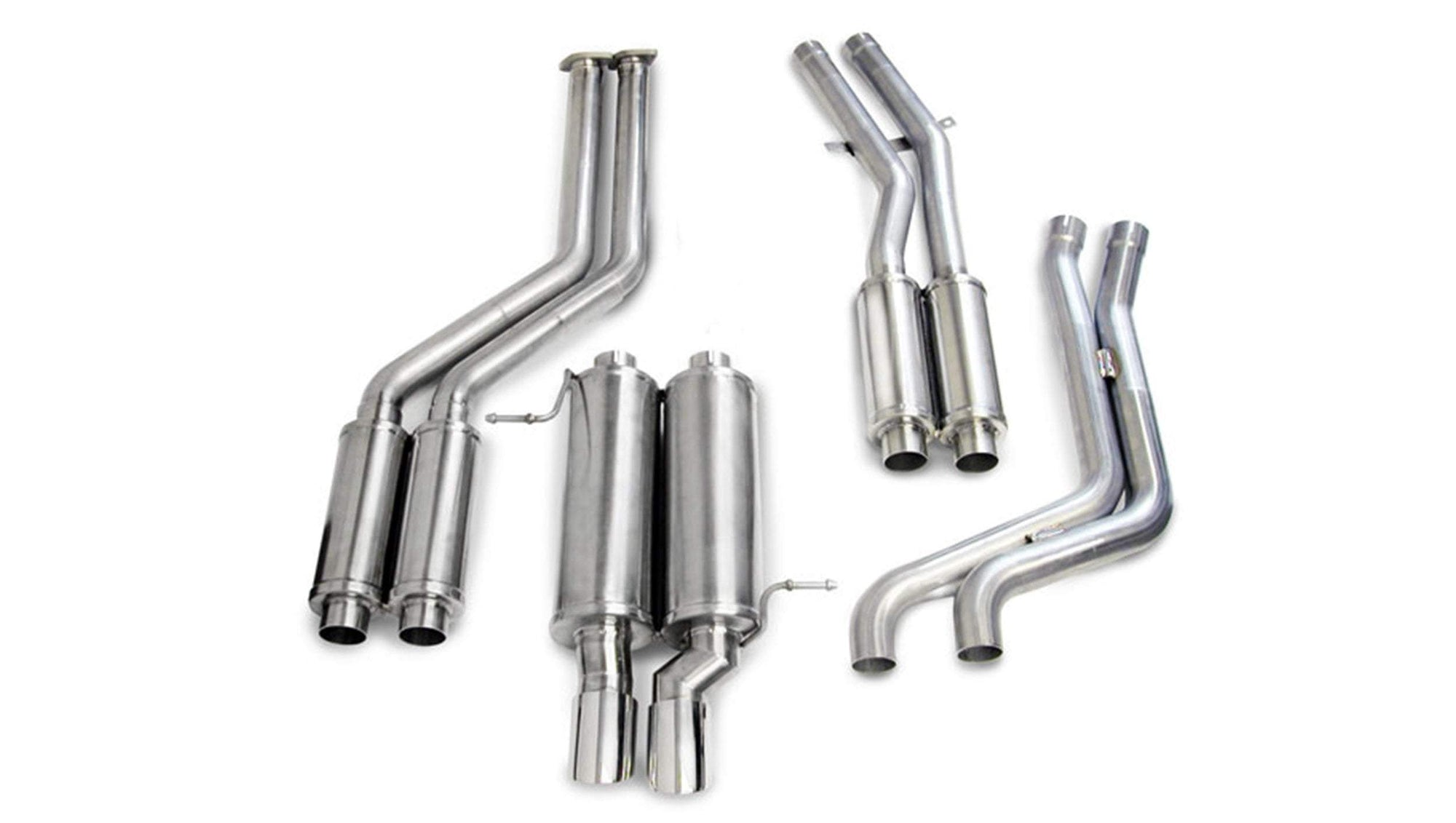 "CORSA PERFORMANCE Cat-Back Exhaust Polished 2.25"" Single Rear Exit Cat-Back Exhaust System with Twin 3.0"" Tips (14551) Sport Sound Level"