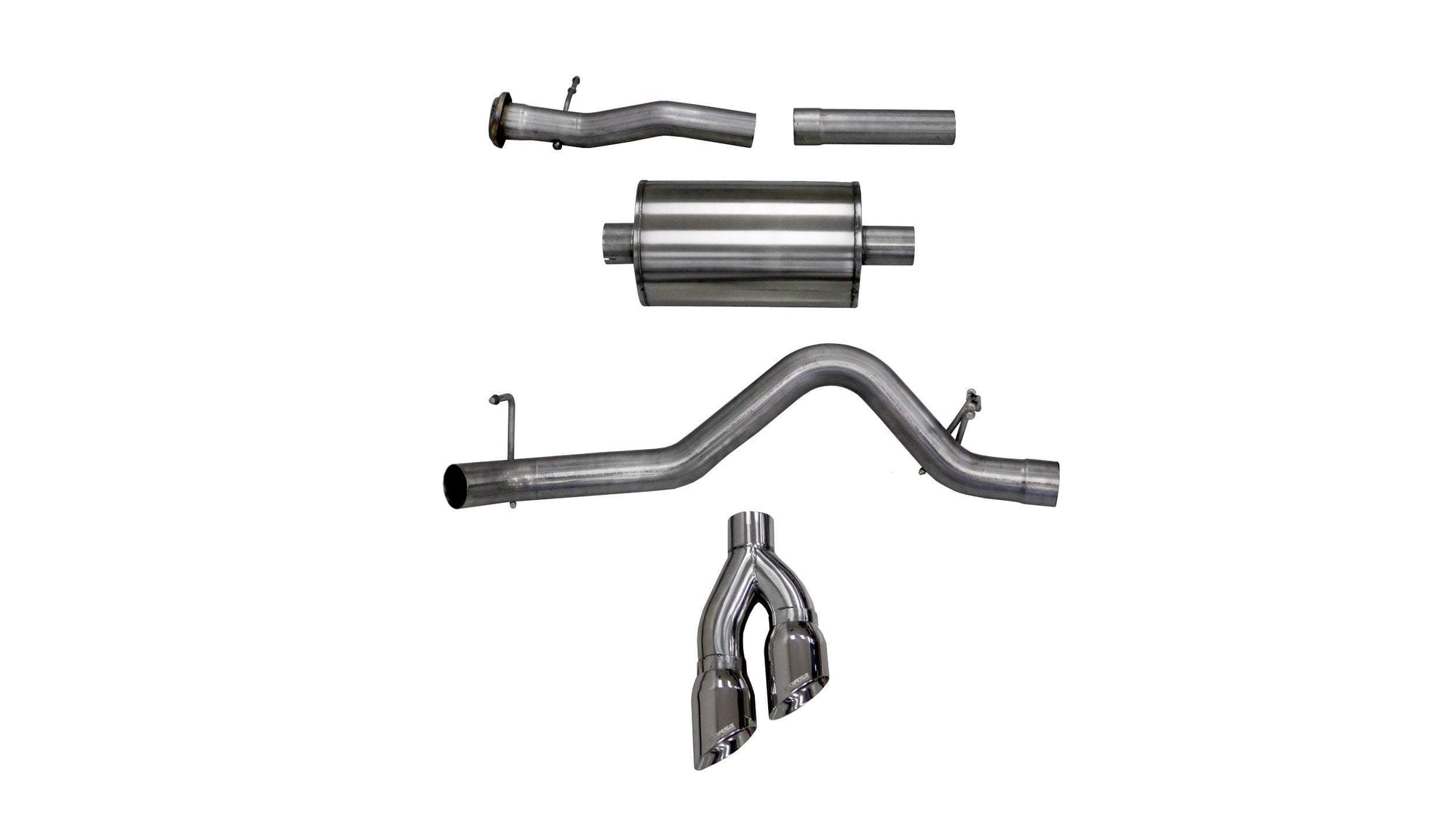 "CORSA PERFORMANCE Cat-Back Exhaust Polished / Sport / Single Side - Twin 4.0in 2015-2016 Chevrolet Colorado, GMC Canyon 3.0"" Single Side Exit Cat-Back Exhaust System with Twin 4.0"" Tip (14744) Sport Sound Level"