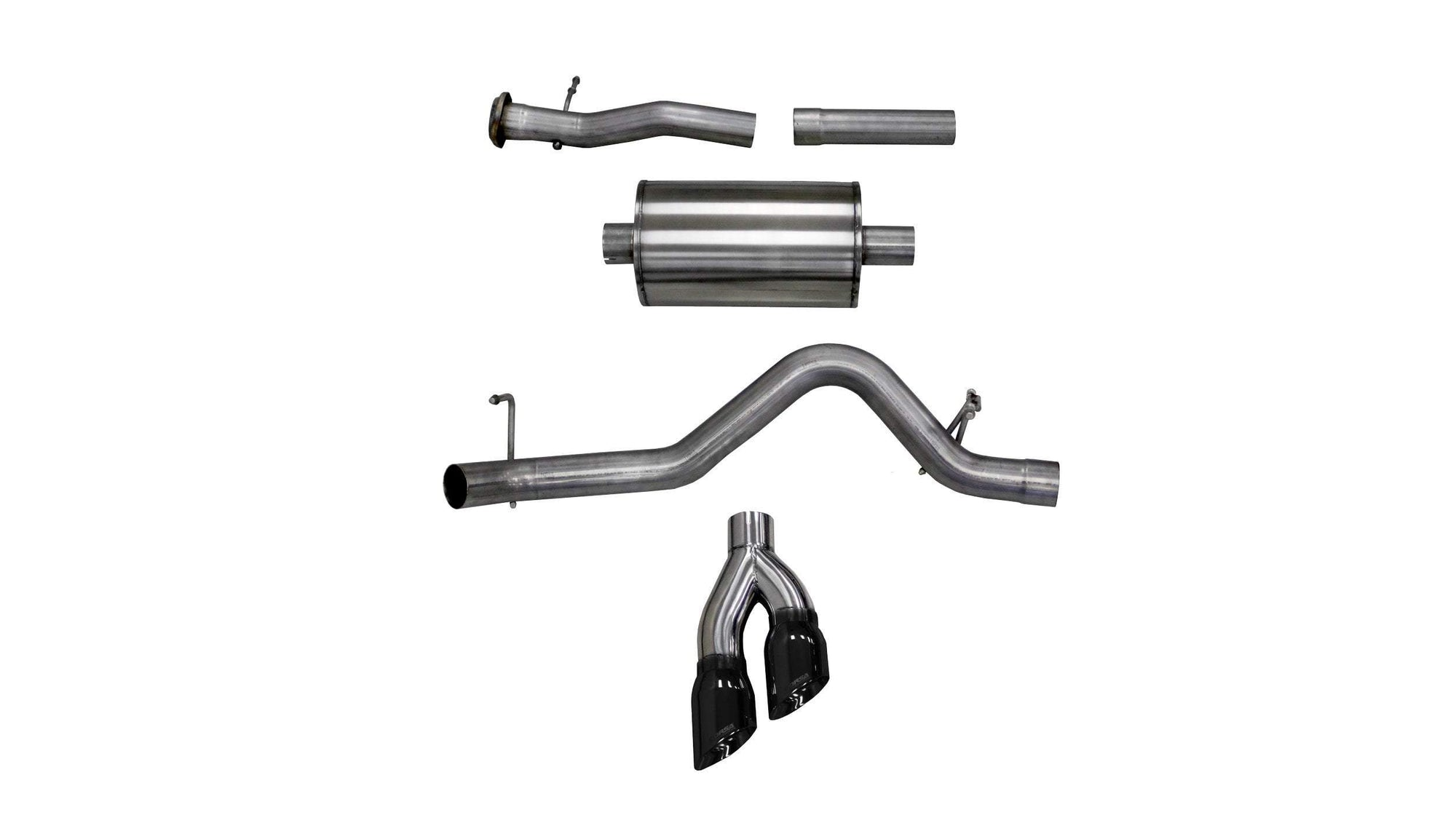 "CORSA PERFORMANCE Cat-Back Exhaust Polished / Sport / Single Side - Twin 4.0in 2017-2020 Chevrolet Colorado, GMC Canyon, 3.0"" Single Side Exit Catback Exhaust System with Twin 4.0"" Tip (14745) Sport Sound Level"