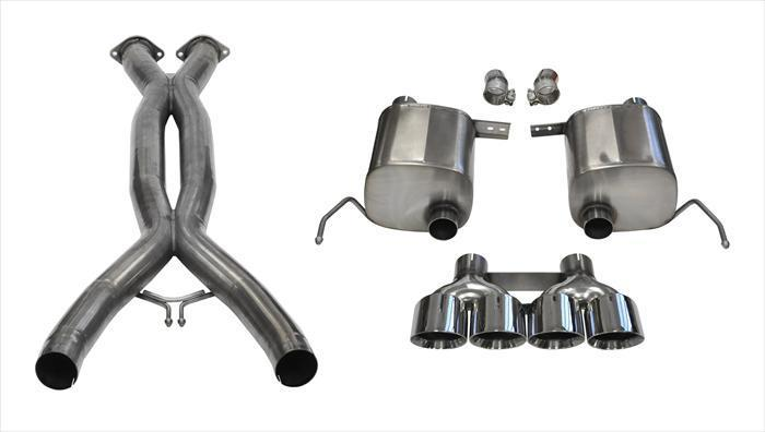 "CORSA PERFORMANCE Valve-Back + X-Pipe Polished / Xtreme+ / Dual Rear - Quad 4.5in 2014-2019 Chevrolet Corvette, C7, 2.75"" Dual Rear Exit+ Valve-Back + X-Pipe with Quad 4.5"" Tips (14762CB) Xtreme+ Sound Level"