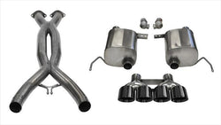 "CORSA PERFORMANCE Valve-Back + X-Pipe Black / Xtreme+ / Dual Rear - Quad 4.5in 2014-2019 Chevrolet Corvette, C7, 2.75"" Dual Rear Exit+ Valve-Back + X-Pipe with Quad 4.5"" Tips (14762CB) Xtreme+ Sound Level"