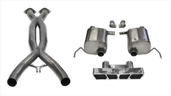 "CORSA PERFORMANCE Valve-Back + X-Pipe Polished / Xtreme+ / Dual Rear - Polygon 2014-2019 C7 Chevrolet Corvette 2.75"" Dual Rear Exit Valve-Back + X-Pipe with Polygon Tip (14763CB) Xtreme+ Sound Level"