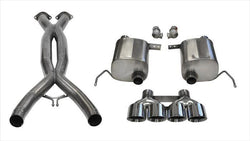 "CORSA PERFORMANCE Valve-Back + X-Pipe Polished / Xtreme / Dual Rear - Quad 4.5in 2014-2019 C7 Chevrolet Corvette 2.75"" Valve-Back + X-Pipe Exhaust System with Quad 4.5"" Tips  (14764CB) Xtreme Sound Level"