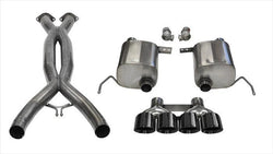 "CORSA PERFORMANCE Valve-Back + X-Pipe Black / Xtreme / Dual Rear - Quad 4.5in 2014-2019 C7 Chevrolet Corvette 2.75"" Valve-Back + X-Pipe Exhaust System with Quad 4.5"" Tips  (14764CB) Xtreme Sound Level"