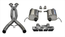 "CORSA PERFORMANCE Valve-Back + X-Pipe Polished / Xtreme / Dual Rear - Polygon 2014-2019 C7 Chevrolet Corvette 2.75"" Valve-Back + X-Pipe Exhaust System with Polygon Tip (14765CB) Xtreme Sound Level"