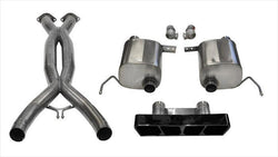 "CORSA PERFORMANCE Valve-Back + X-Pipe Black / Xtreme / Dual Rear - Polygon 2014-2019 C7 Chevrolet Corvette 2.75"" Valve-Back + X-Pipe Exhaust System with Polygon Tip (14765CB) Xtreme Sound Level"