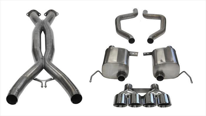 "CORSA PERFORMANCE Cat-Back Exhaust Polished / Xtreme+ / Dual Rear - Quad 4.5in 2015-2019 C7 Corvette Z06 2.75"" Dual Rear Exit Catback Exhaust System with Quad 4.5"" Tips (14766CB) Xtreme+ Sound Level"