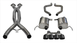 "CORSA PERFORMANCE Cat-Back Exhaust Black / Xtreme+ / Dual Rear - Quad 4.5in 2015-2019 C7 Corvette Z06 2.75"" Dual Rear Exit Catback Exhaust System with Quad 4.5"" Tips (14766CB) Xtreme+ Sound Level"