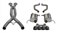 "CORSA PERFORMANCE Cat-Back Exhaust Black / Xtreme / Dual Rear - Quad 4.5in 2015-2019 Chevrolet Corvette C7 Z06, ZR1, 2.75"" Dual Rear Exit Catback Exhaust System with Quad 4.5"" Tips (14768CB) Xtreme Sound Level"