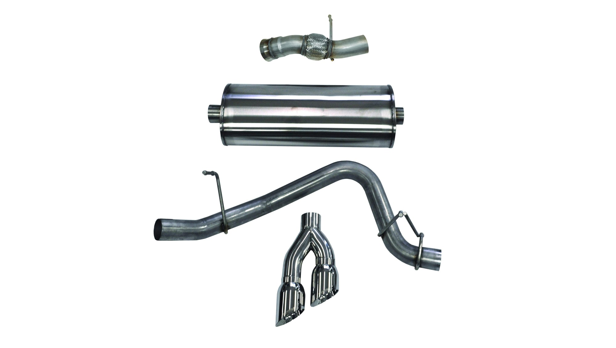"CORSA PERFORMANCE Cat-Back Exhaust Polished / Sport / Single Side - Twin 4.0in 2015-2020 GMC Yukon Denali, Cadillac Escalade, 6.2L V8, 3.0"" Single Side Exit Catback Exhaust System with Twin 4.0"" Tip (14826) Sport Sound Level"