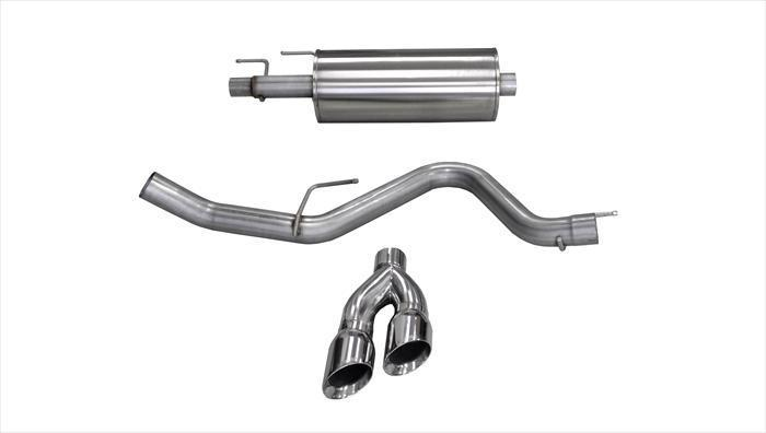 "CORSA PERFORMANCE Cat-Back Exhaust Polished / Sport / Single Side - Twin 4.0in 2015-2019 Ford F-150 2.7L & 3.5L EcoBoost 3.0"" Catback Exhaust System with Twin 4.0"" Tip (14836) Sport Sound Level"