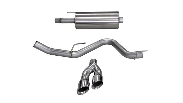 "CORSA PERFORMANCE Cat-Back Exhaust Polished / Sport / Single Side - Twin 4.0in 2015-2019 Ford F-150 5.0L V8, 3.0"" Single Side Exit Catback Exhaust System with Twin 4.0"" Tip (14837) Sport Sound Level"