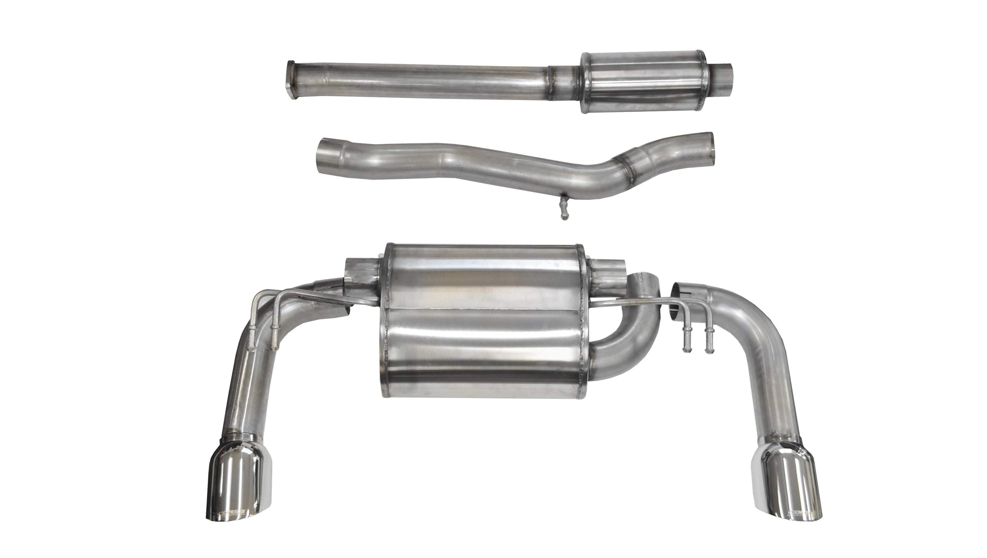 "CORSA PERFORMANCE Cat-Back Exhaust Polished / Sport / Dual Rear - Single 4.5in 3.0"" Dual Rear Exit Cat-Back Exhaust System with 4.5"" Tips  (14858) Sport Sound Level"
