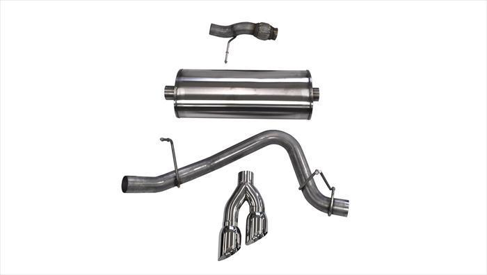"CORSA PERFORMANCE Cat-Back Exhaust Polished / Sport / Single Side - Twin 4.0in 2015-2020 Chevrolet Tahoe, GMC Yukon 5.3L V8, 3.0"" Single Side Exit Catback Exhaust System with Twin 4.0"" Tip (14859) Sport Sound Level"
