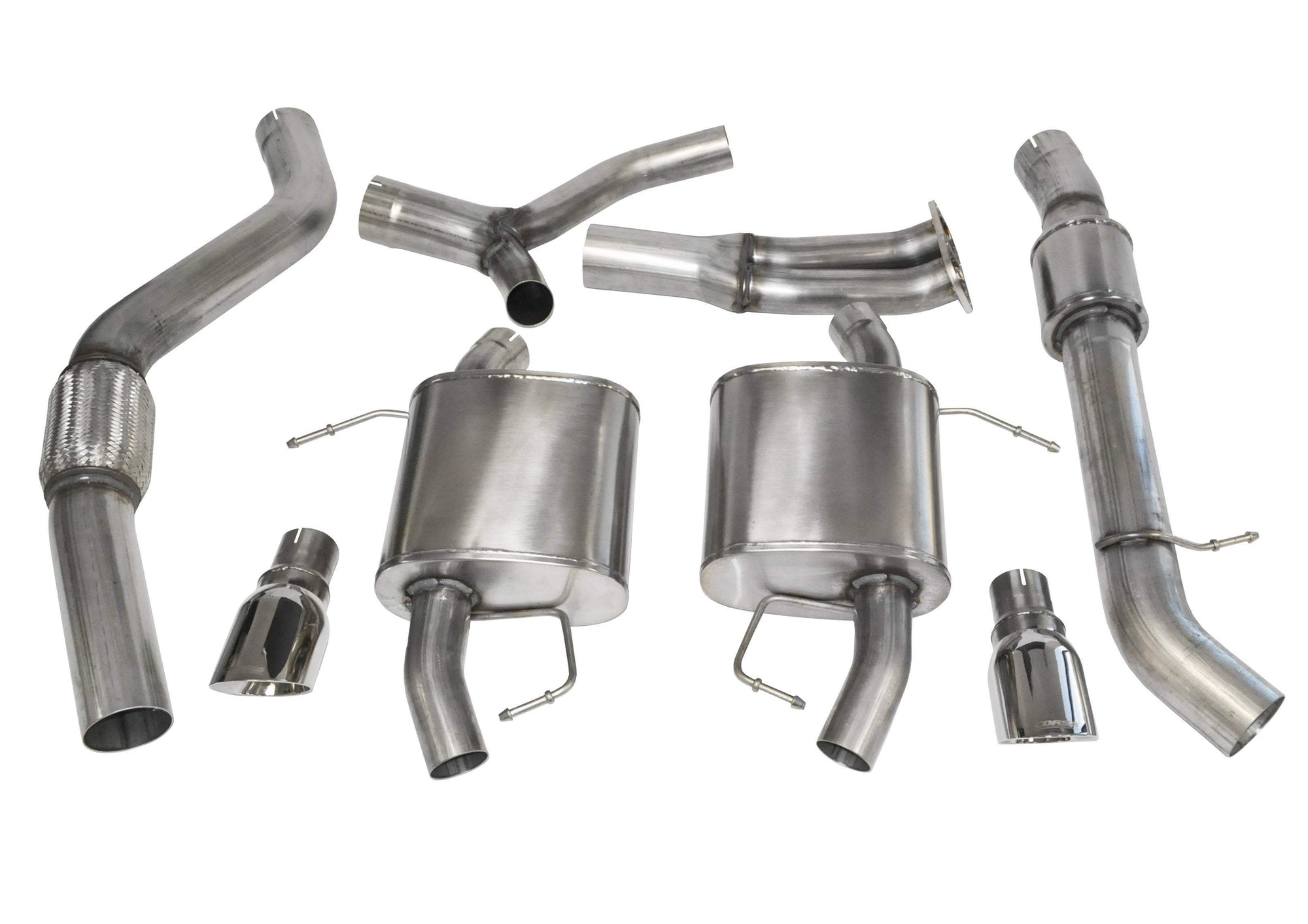 "CORSA PERFORMANCE Cat-Back Exhaust Polished / Sport / Dual Rear - Single 4.0in 3.5"" Dual Rear Exit Cat-Back Exhaust System with 4.0"" Tips (14861) Sport Sound Level"