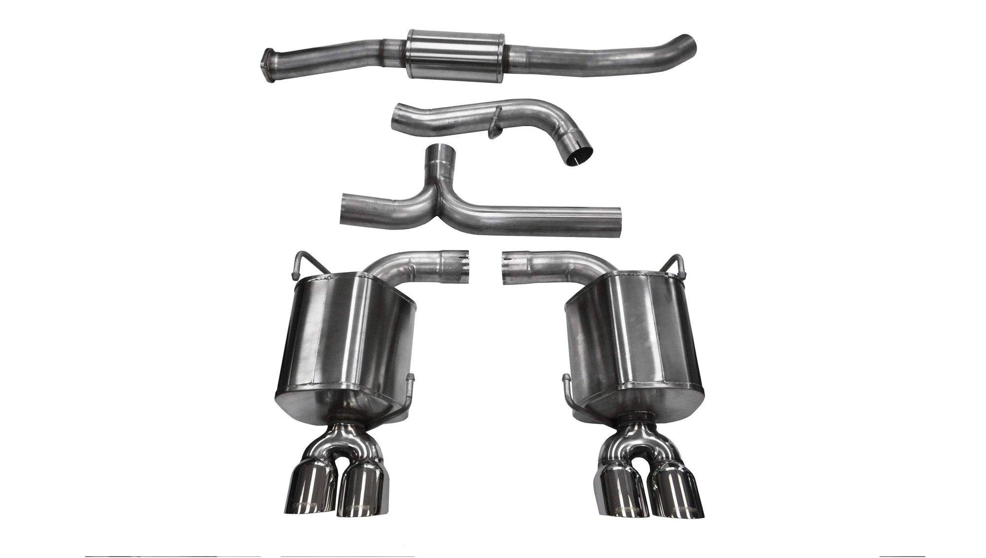 "CORSA PERFORMANCE Cat-Back Exhaust Polished / Sport / Dual Rear - Twin 3.5in 2011-2014 Subaru Impreza STI, WRX, 2.5L ,3.0"" Dual Rear Exit Catback Exhaust System with Twin 3.5"" Tips (14863) Sport Sound Level"