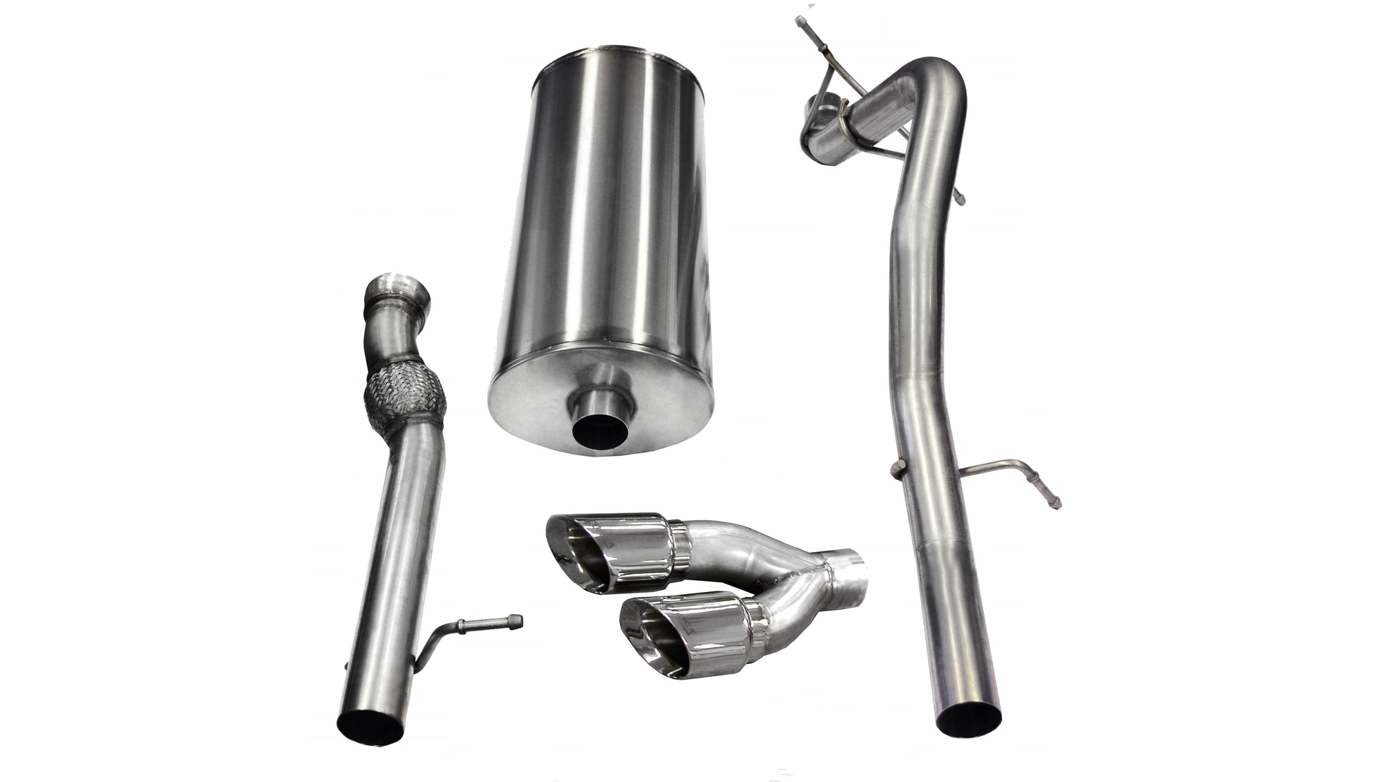 "CORSA PERFORMANCE Cat-Back Exhaust Polished / Sport / Single Side - Twin 4.0in 3.0"" Single Side Exit Cat-Back Exhaust System with Twin 4.0"" Tips (14882) Sport Sound Level"