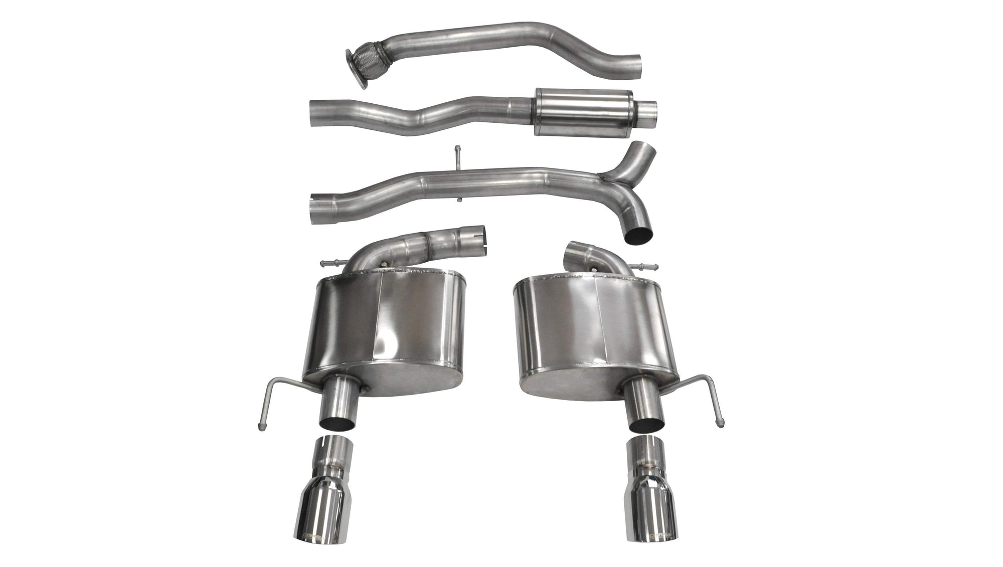 "CORSA PERFORMANCE Cat-Back Exhaust Polished / Sport / Dual Rear - Single 4.0in 2013-2019 Cadillac ATS 2.0L Turbo (Automatic) 3.0"" Dual Rear Exit Cat-Back Exhaust System with 4.0"" Tips (14888) Sport Sound Level"