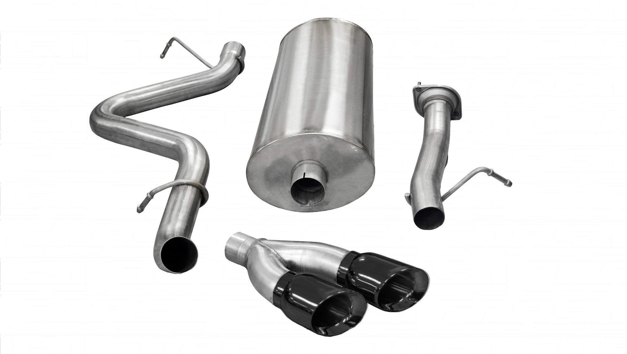 "CORSA PERFORMANCE Cat-Back Exhaust Black / Sport / Single Side - Twin 4in 3.0"" Single Side Exit Cat-Back Exhaust System with Twin 4.0"" Tip (14894) Sport Sound Level"