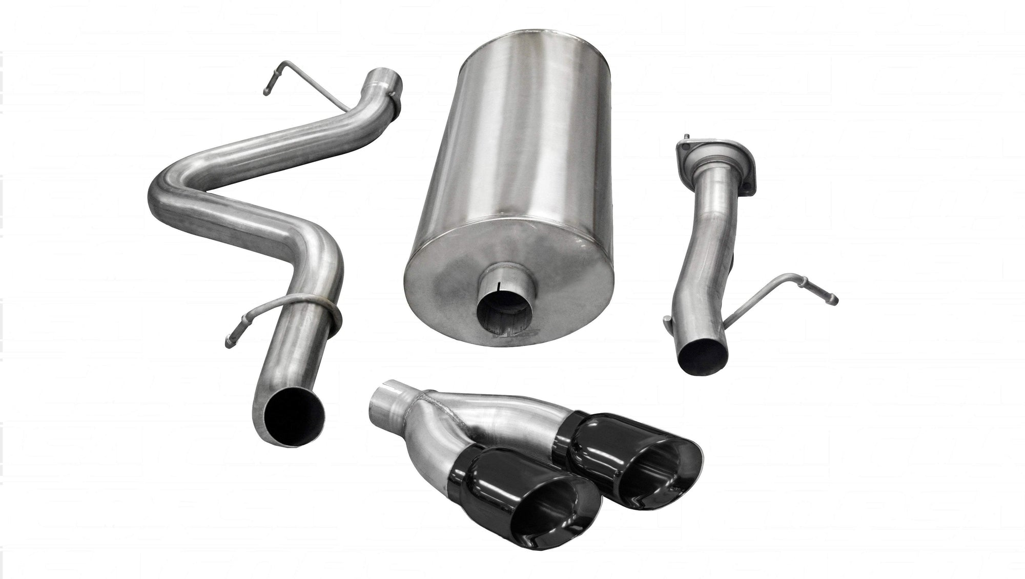 "CORSA PERFORMANCE Cat-Back Exhaust Black / Sport / Single Side - Twin 4in 3.0"" Single Side Exit Cat-Back Exhaust System with Twin 4.0"" Tip (14898) Sport Sound Level"