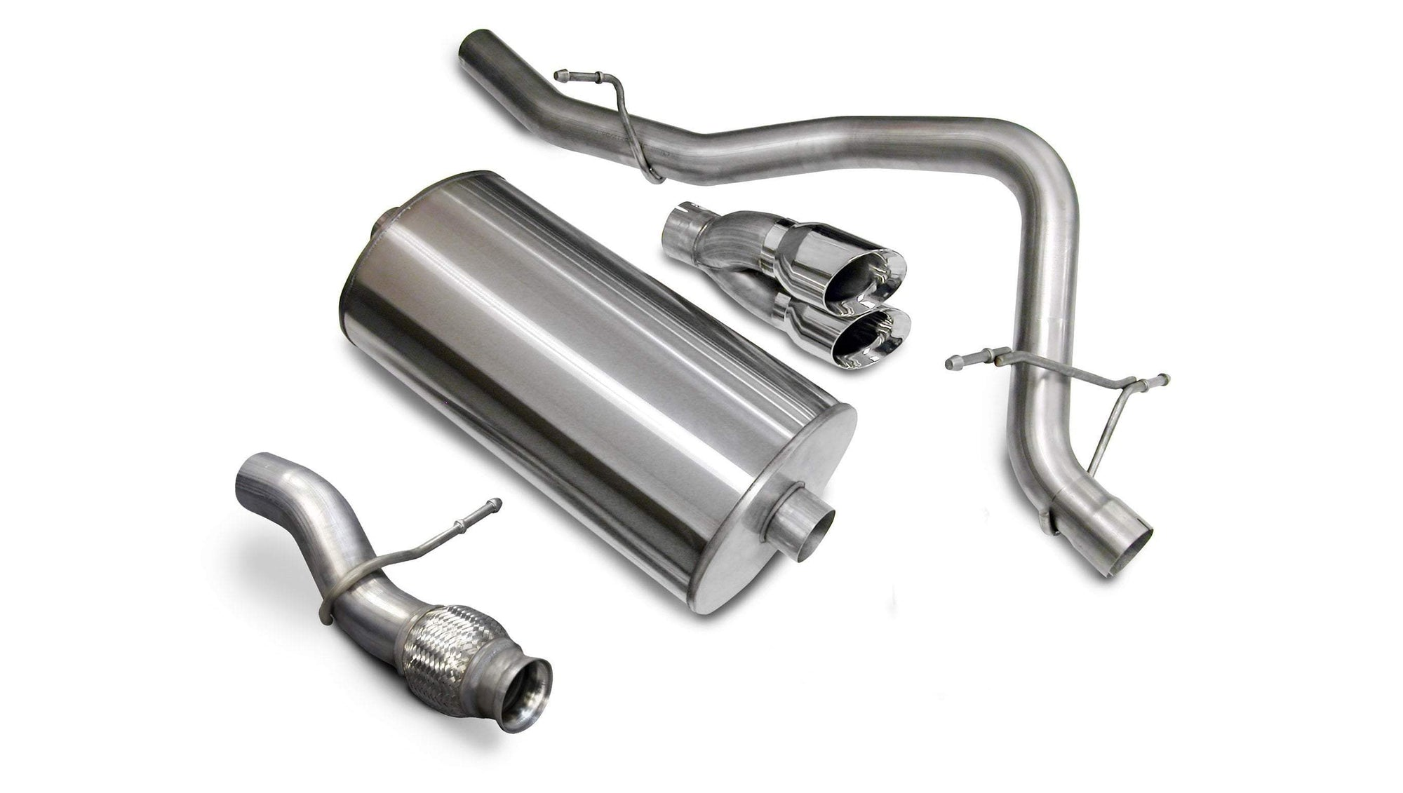 "CORSA PERFORMANCE Cat-Back Exhaust Polished / Sport / Single Rear - Twin 4.0in 2009-2014 Chevrolet Tahoe, GMC Yukon 5.3L V8, 3.0"" Single Rear Exit Catback Exhaust with Twin 4.0"" Tips (14912) Sport Sound Level"