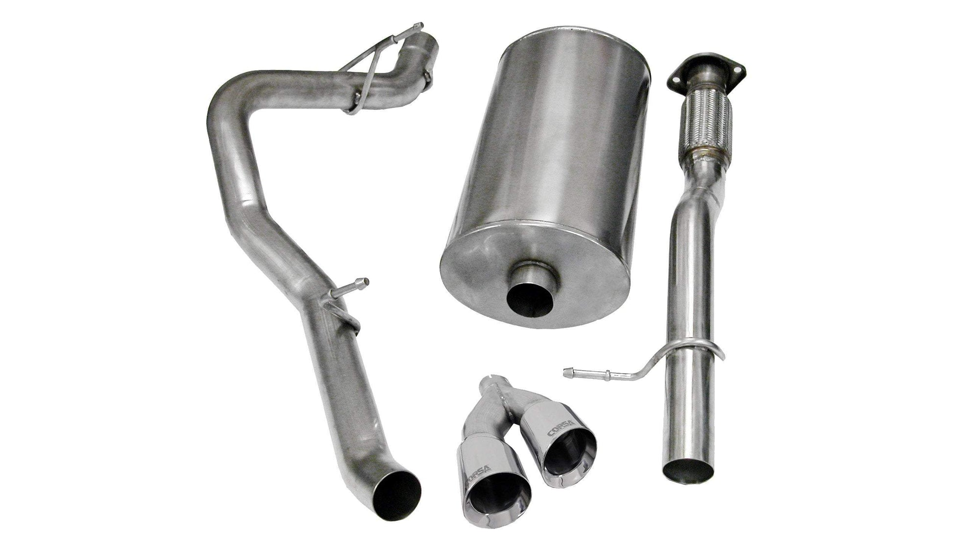 "CORSA PERFORMANCE Cat-Back Exhaust Polished / Sport / Single Side - Twin 4.0in 2009-2014 Chevrolet Avalanche, Suburban, GMC Yukon XL, 5.3L 6.0L V8, 3.0"" Single Side Exit Cat-Back Exhaust System with Twin 4.0"" Tips  (14914) Sport Sound Level"
