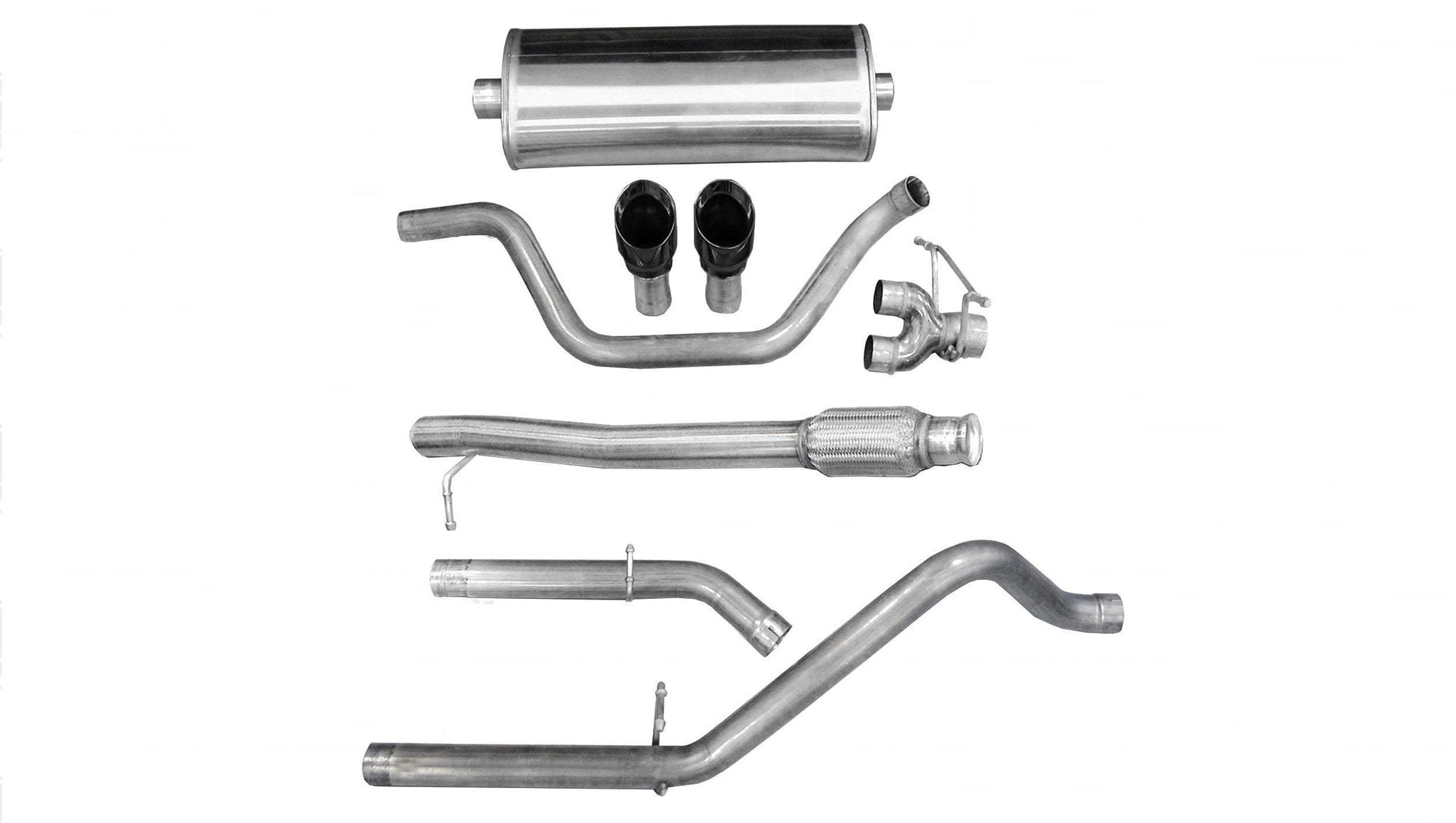"CORSA PERFORMANCE Cat-Back Exhaust Black / Sport / Dual Rear - Single 4in 2010-2013 Chevrolet Silverado, GMC Sierra, 4.8L, 5.3L, 6.0L V8 3.0"" Dual Rear Exit Catback Exhaust System with 4.0"" Tips (14927) Sport Sound Level"